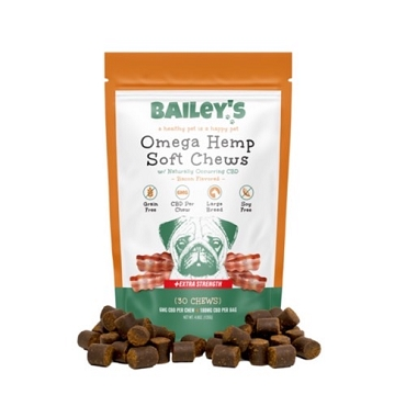 Bailey's Omega Hemp Soft Chews Large Breed - Bacon Flavored